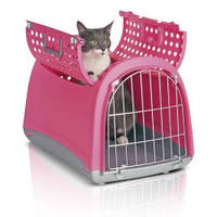 Переноска для кошек и собак, Imac ЛИНУС КАБРИО (LINUS CABRIO) пластик, розовый | 4.12кг | 50*32*34,5см