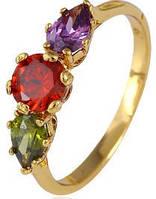Кольцо позолота Gold Filled разноцветные цирконы (GF441) Размер 17