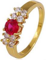 Кольцо позолота Gold Filled с цирконами (GF453) Размер 17