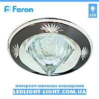 Врезной точечный светильник Feron DL2012 со стеклом, черное - серебро.