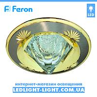 Врезной точечный светильник Feron DL2012 со стеклом, титан - золото.
