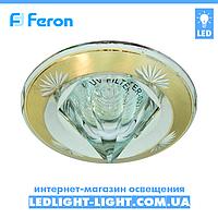 Врезной точечный светильник Feron DL2012 со стеклом, золото - серебро.