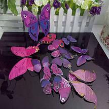 Объемные 3D бабочки на стену (обои) для декора (фиолетовые), фото 2