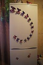 Объемные 3D бабочки на стену (обои) для декора (фиолетовые), фото 3