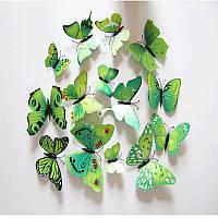 Объемные 3D бабочки на стену (обои) для декора (зеленые)