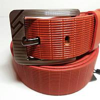 Мужской кожаный ремень 4см(рыжий )