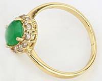 Кольцо позолота с овальным цирконом Цитрин Размер 16 (620