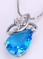Кулон белая позолота с голубым цирконом (GF809