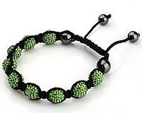 Браслет Шамбала с кристаллами зеленый