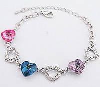 Браслет с австрийскими кристаллами Heart Multicolor (ab83)