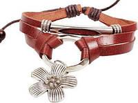 Кожаный браслет с подвеской Цветок (tb661)