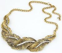 Ожерелье колье Перышки золото античное tb1129