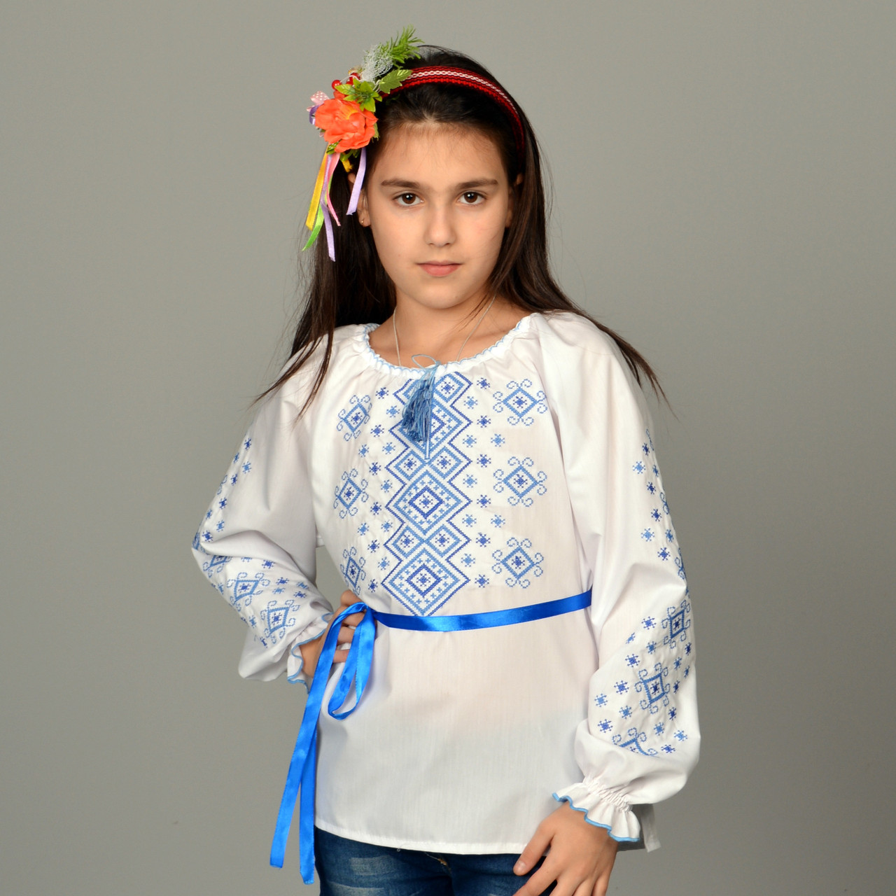 """Вышитая сорочка для девочек """"Орнамент синий"""""""