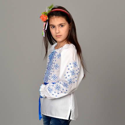 """Вышитая сорочка для девочек """"Орнамент синий"""", фото 2"""