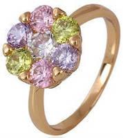 Кольцо позолота Gold Filled с разноцветными цирконами (GF443) Размер 17