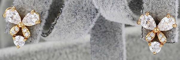 Сережки Метелики позолота з цирконами GF1020, фото 2