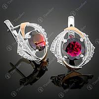 Серебряные серьги с гранатом и фианитами. Артикул С-298