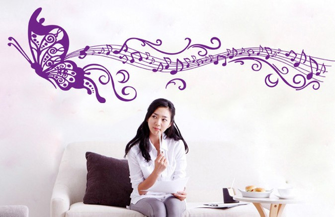 Інтер'єрна наклейка на стіну Метелик Музика (CC6913)