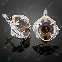 Серебряные серьги с раухтопазом и фианитами. Артикул С-298
