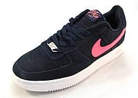 Кроссовки женские Nike Air Force замшевые, синие (найк аир форсы) (р.37)