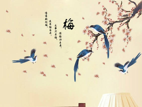 Интерьерная наклейка на стену Цветущая Сакура с птицами (AM913), фото 2