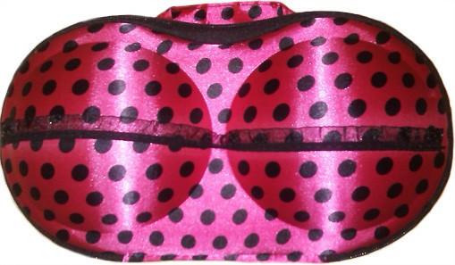 Органайзер - сумочка для бюстгалтеров (з сіточкою), рожевий в сердечка