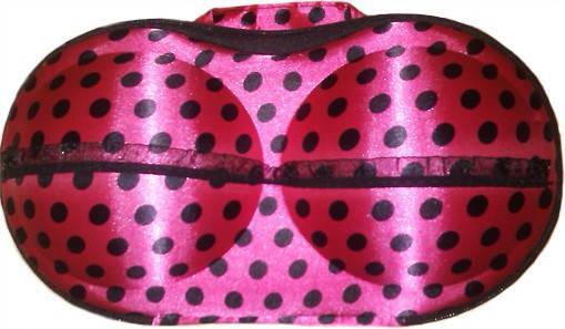 Органайзер - сумочка для бюстгалтеров (з сіточкою), рожевий в сердечка, фото 2