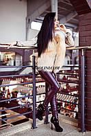 Примерка  жилета из меха лисы в шоу руме г.Харькова, по бокам кожаные вставки, на молнии, в наличии