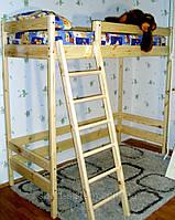 Двухъярусная кровать-чердак деревянная высотой 187см, фото 1
