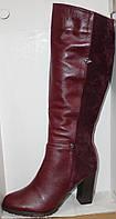 Высокие сапоги женские молодежные на среднем каблуке, кожаная женская обувь от производителя модель Л954-ком