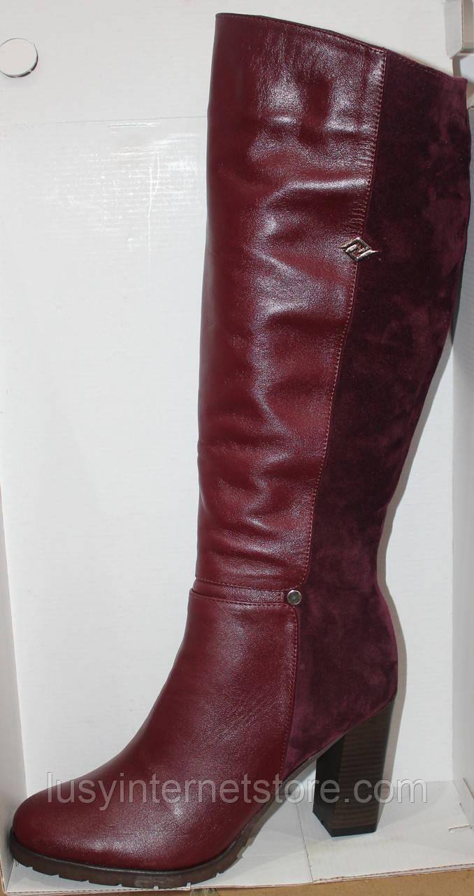 ff1e259ca Высокие сапоги женские молодежные на среднем каблуке, кожаная женская обувь  от производителя модель Л954-