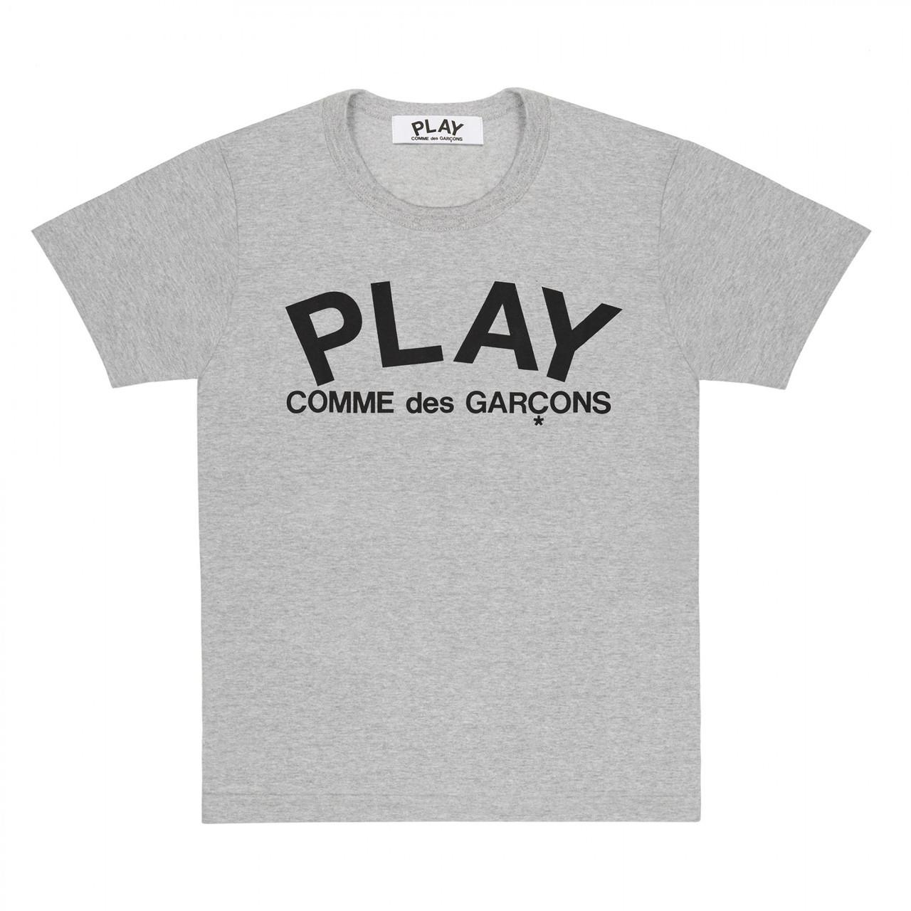 Футболка с принтом Comme des Garcons Play Logo мужская (серая)