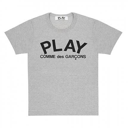 Футболка с принтом Comme des Garcons Play Logo мужская (серая) , фото 2