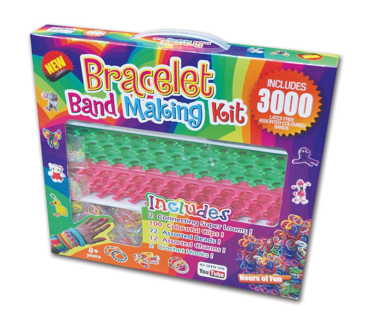 Резиночки для плетіння браслетів Rainbow loom набір (3000шт, верстат подвійний, підвіски, гачки, замки, намистини)