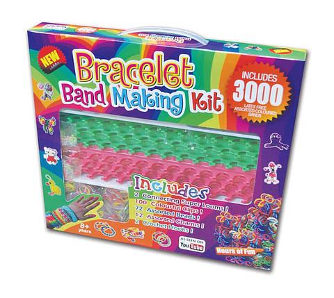 Резиночки для плетіння браслетів Rainbow loom набір (3000шт, верстат подвійний, підвіски, гачки, замки, намистини), фото 2