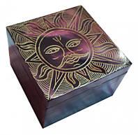 Шкатулка каменная крашенная Солнце #2
