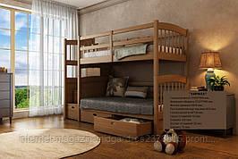 """Двухъярусная кровать семейного типа """"Кирилл"""" с ящиками ступеньками и бортиками на втором ярусе."""