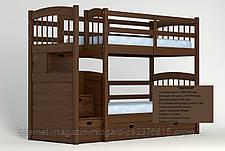 """Двухъярусная кровать семейного типа """"Кирилл"""" с ящиками ступеньками и бортиками на втором ярусе., фото 3"""