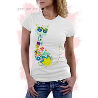Футболка біла жіноча з принтом Floral Cat, фото 1