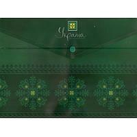 """Папка на кнопке Optima 35201-04 зелен А4 180мкм """"Україна-мiй улюблений стиль"""" непрозрачная"""