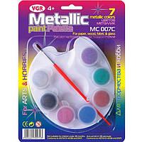 Краски акриловые VGR MC007C 7цветов контейнеры с крышкой + кисть+палитра