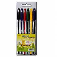 Ручка шариковая в блистере A-Chens 563-6 6 цветов 0.7 мм белые пластиковые с цветными полосками,блист/пак
