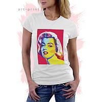 Женская белая футболка с принтом Pop Art Marilyn
