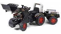 Детский трактор на педалях Falk  Farm King с прицепом и ковшом черный