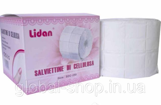 Салфетки безворсовые Lidan для очистки ногтей, кистей (250 шт, хлопок, без ворсы)