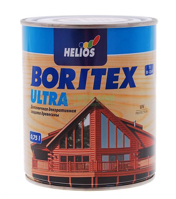 Helios BoriTex Ultra  (топлазурь) 0,75 л. Эбеновое дерево,  деревозащитная пропитка на воске , с УФ фильтром