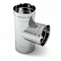 Тройник для дымохода 87°, нерж., 500 мм (сталь 0,5 мм) AISI304
