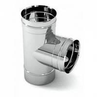 Тройник для дымохода 87°, нерж., 140 мм (сталь 0,8 мм) AISI304