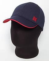 """Бейсболка спортивная """"ВК"""" темно-синего цвета с красным подкозырьком лакоста шестиклинка"""