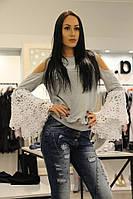 O LaLa  женская очень модная кофта Серая с интересными рукавами Оригинал